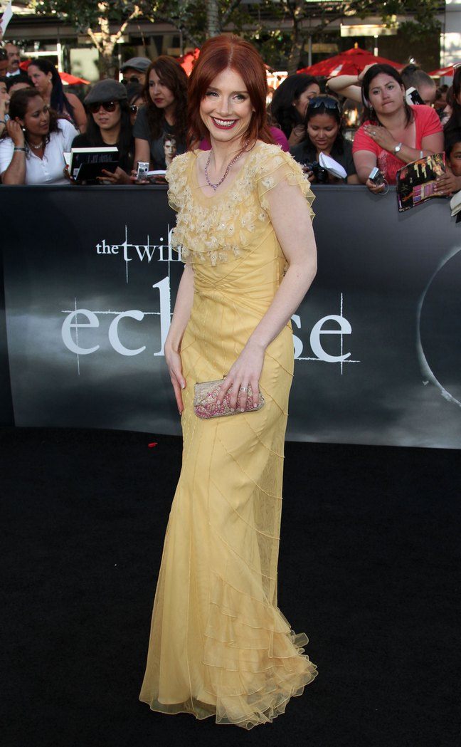 Bryce Dallas Howard, yellow floor length dress, silver clutch, eclipse premiere red carpet