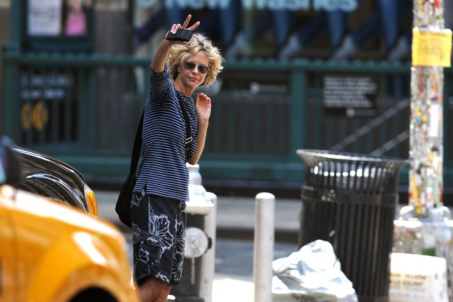 Meg Ryan, sunglasses, blue and white striped shirt, mobile phone, floral print skirt