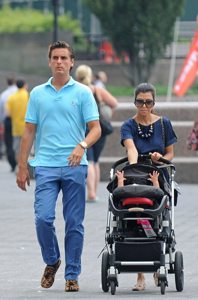 Kourtney Kardashian, blue blouse, necklace, sunglasses, Scott Disick, aqua shirt, blue pants, leopard shoes
