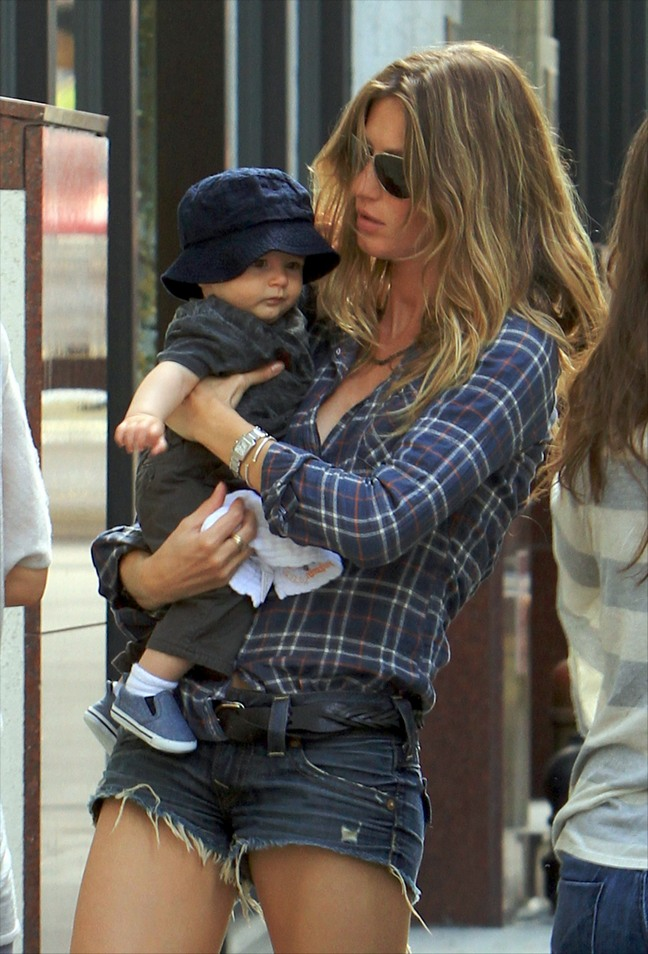 Gisele Bundchen, plaid flannel shirt, denim cut off shorts, sunglasses, belt, watch