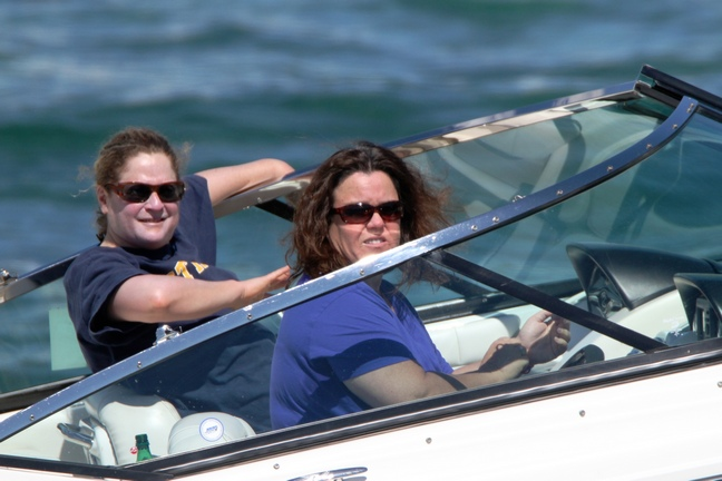 Rosie O'Donnell, blue shirt, boat, sunglasses
