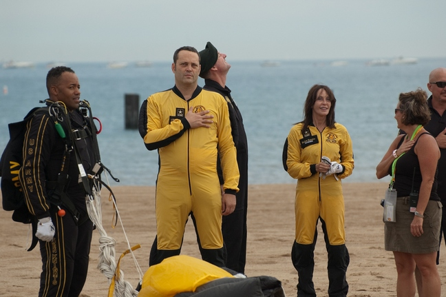 Vince Vaughn, Shea Vaughn, black and yellow parachute jump suits