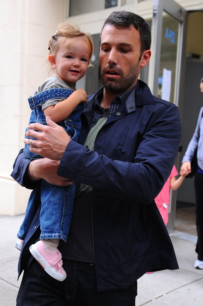 Ben Affleck, black jeans, blue jacket, plaid shirt, gray tshirt, seraphina affleck
