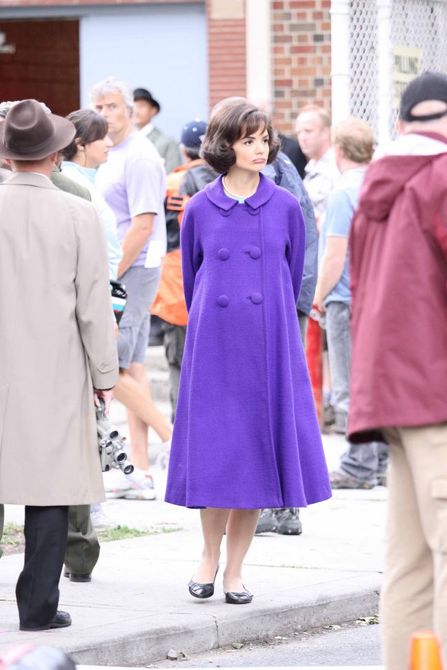 Katie Holmes, purple trench coat, jackie kennedy, on the set