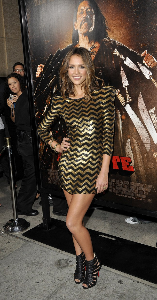 Jessica Alba, Machete Premiere, gold and black mini dress, black strappy heels,