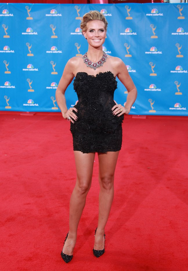 Heidi Klum, emmy dress, black mini dress, heels, upswept hair