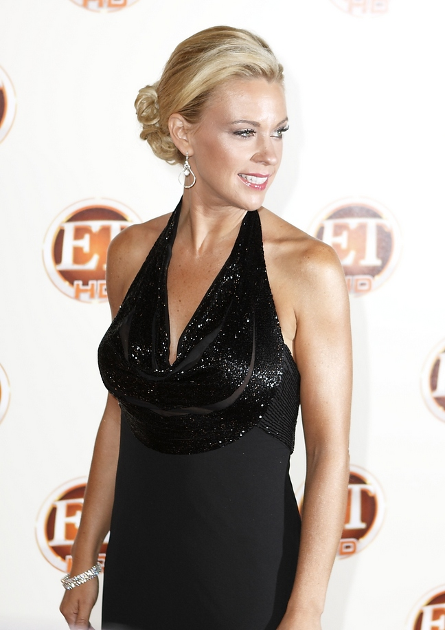 Kate Gosselin, sequin dress, black gown, diamond dangle earrings,