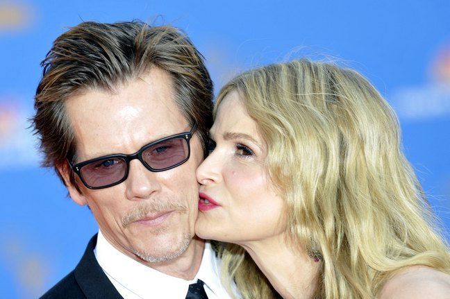 Kevin Bacon, sunglasses, black suit, Kyra Sedgwick, purple dress