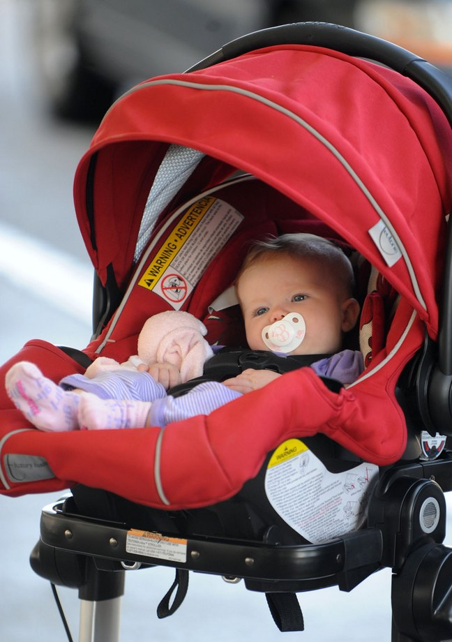 Amy Adams, Baby car seat, Aviana, pacifier, stroller, booties