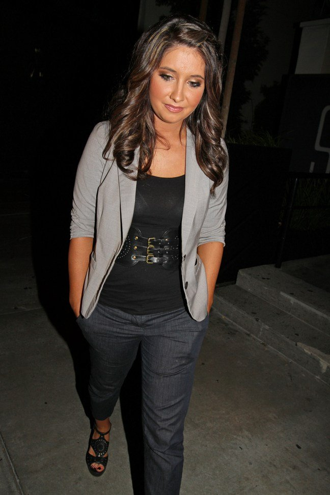 Bristol Palin, gray jacket, black tshirt, black belt, dark gray slacks, black heels