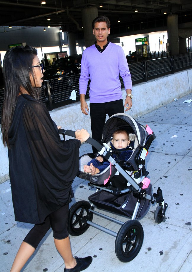 Kourtney Kardashian, black top, black capris, black shoes, stroller, mason disick, scott disick, purple sweater