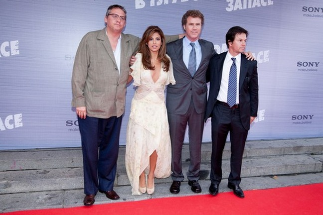 Will Ferrell, gray suit, Eva mendes, white cream champagne dress, Mark Wahlberg dark suit