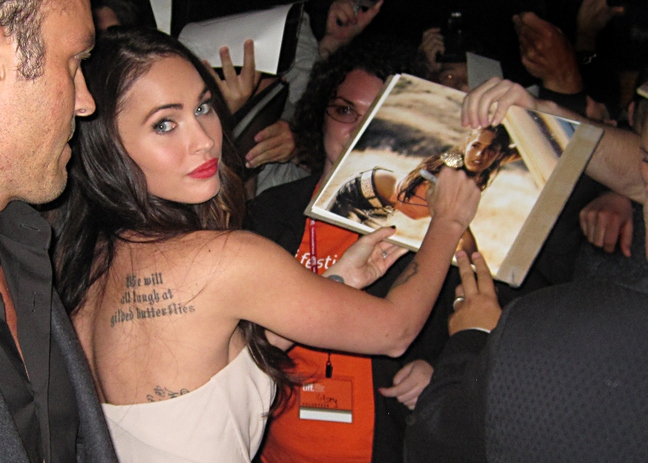 Megan Fox, passion play premiere, pink dress, strapless dress