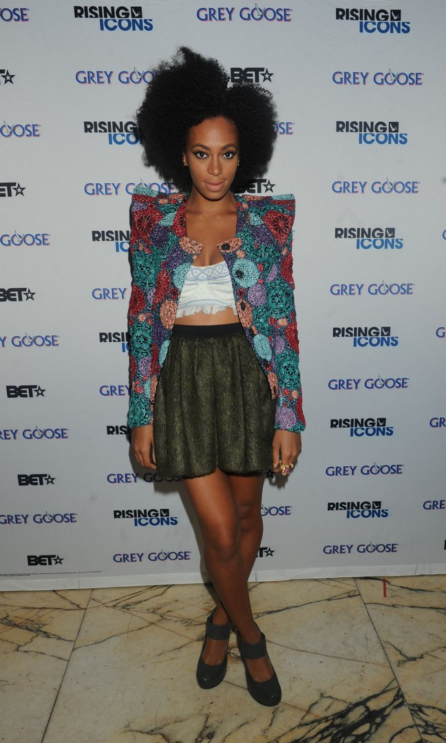 Solange Knowles, floral jacket, white top, green skirt, black heels, black strappy shoes
