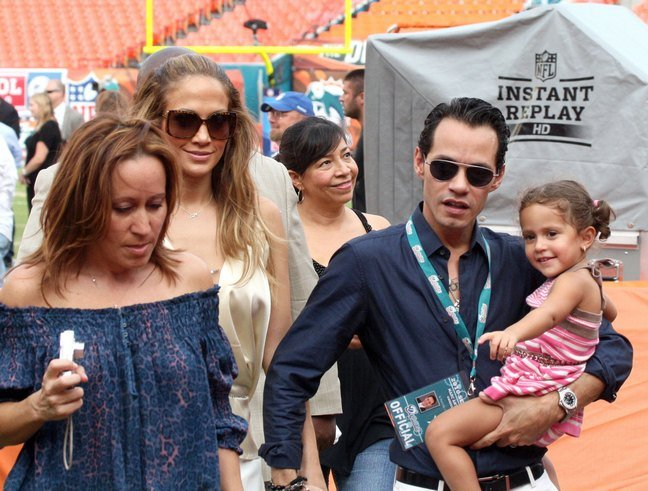 Jennifer Lopez, sunglasses, silk champagne jumper, cream color blouse, Marc Anthony