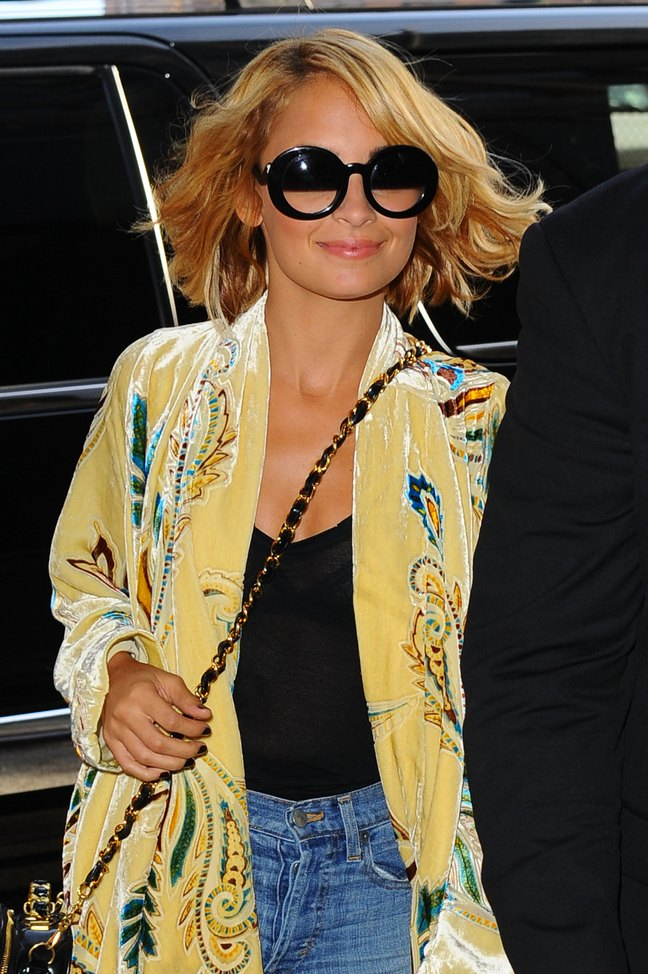 Nicole Richie, yellow blouse, sunglasses, yellow velvet jacket, half tint sunglasses, chanel bag, black tank top, jeans