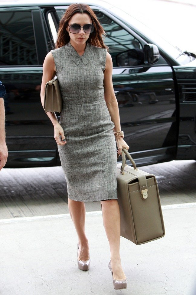 Victoria Beckham, gray suit, gray dress, gray tote bag, sunglasses, gray clutch