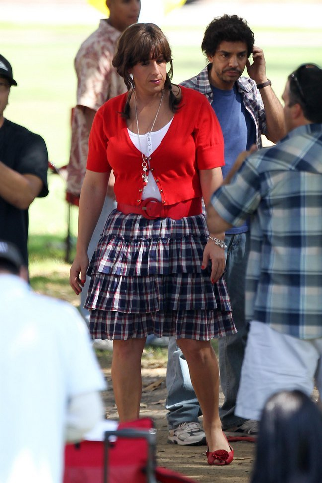 Adam Sandler, skirt, red sweater, braids, pig tails, earrings