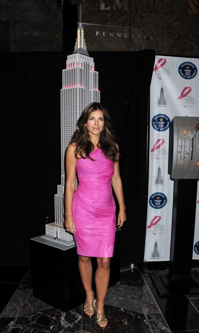 Elizabeth Hurley, empire state building, breast cancer awareness, pink dress, heels
