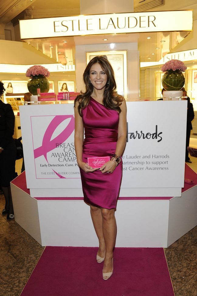 Elizabeth Hurley, pink silk dress, pink heels, breast cancer awareness