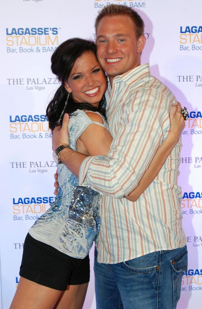 Melissa Rycroft, Tye Strickland, black shorts, striped shirt
