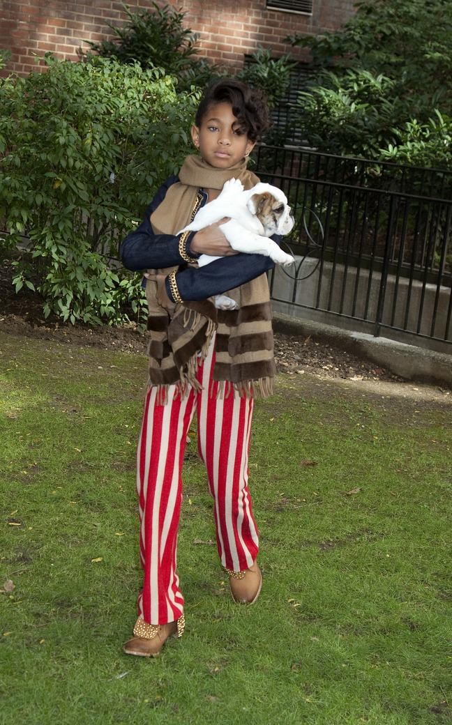 Willow Smith, red and white striped pants, scarf, brown scarf, blue jacket, dog
