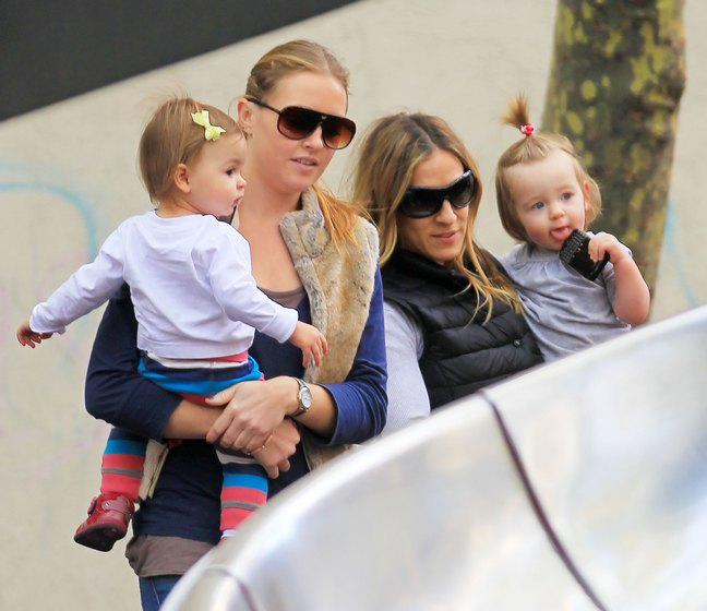 Sarah Jessica Parker, sunglasses, black vest, grey shirt, gray pants,