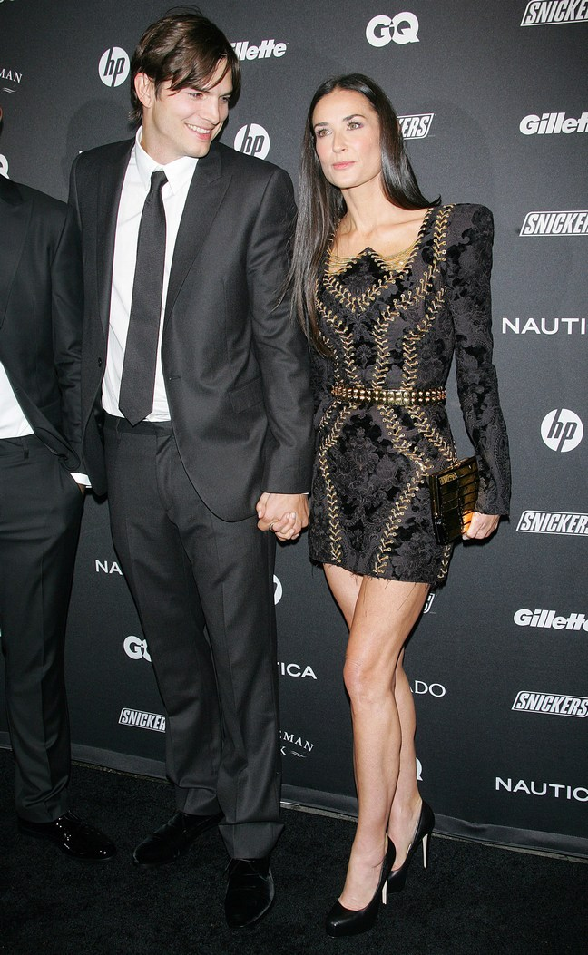 Demi Moore, black mini dress, Ashton Kutcher