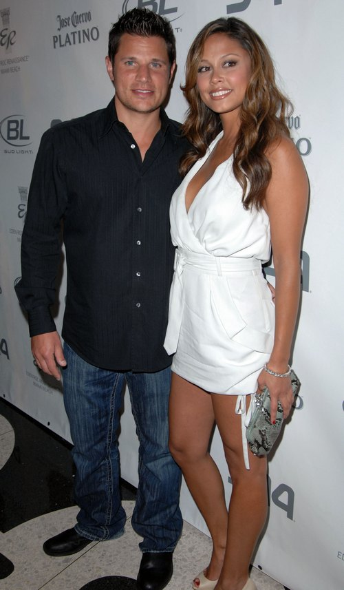 Vanessa Minnillo, white dress, Nick Lachey